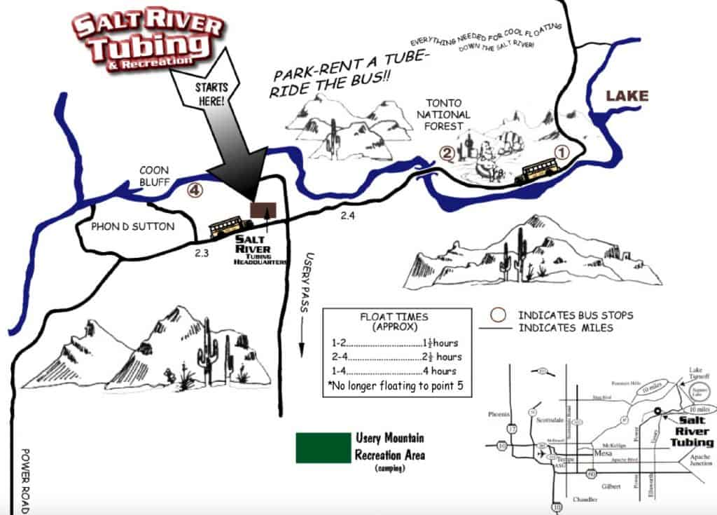 Arizona's Salt River Tubing Map